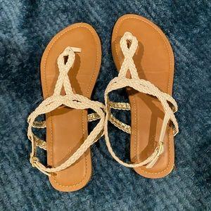 Merona White Strappy Braided Sandals